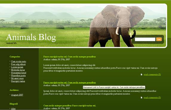 Elephant Header Green WordPress Blog Theme