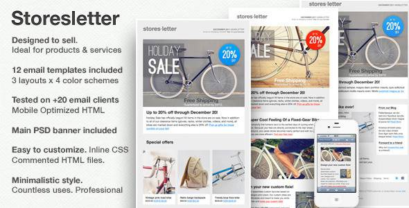 Storesletter HTML email-marketing template- designed to sell