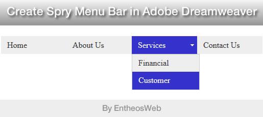 Create Spry Menu Bar in Adobe Dreamweaver