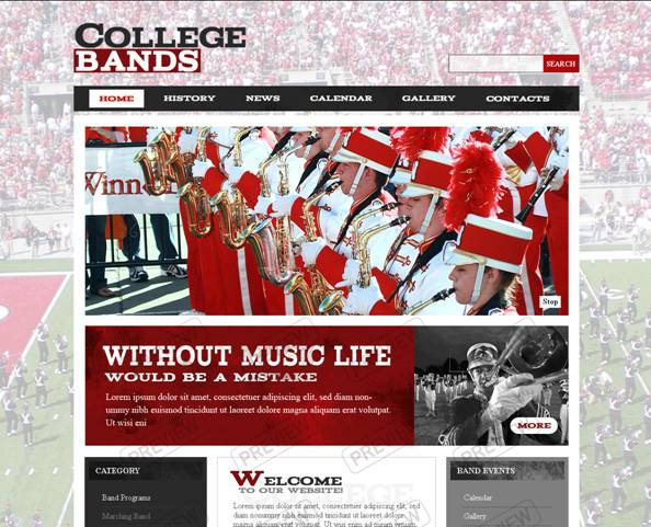 College Bands Website Template