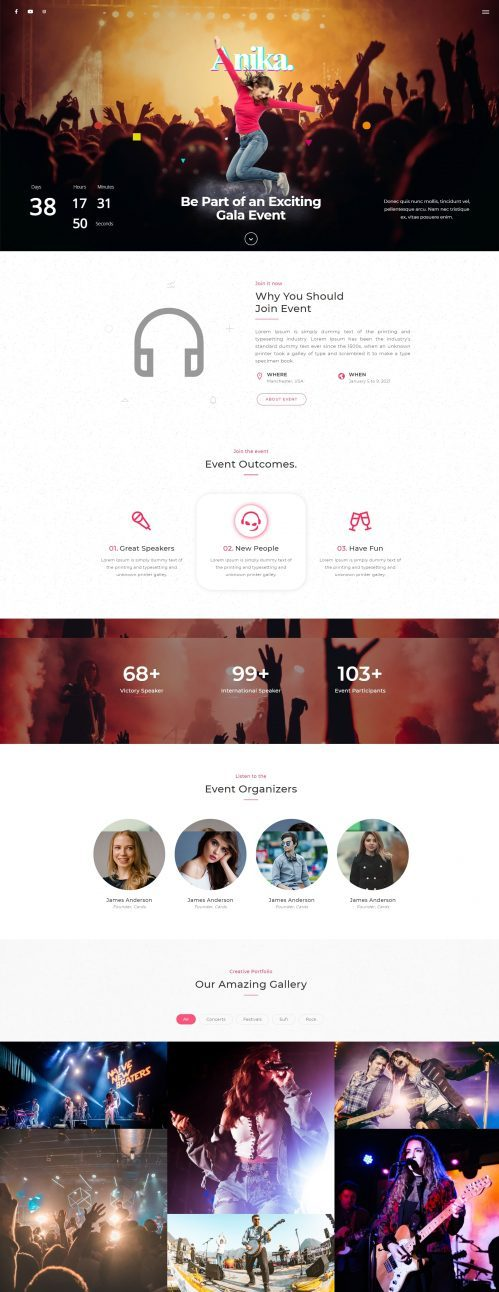 Anika | Events HTML5 Landing Page Template