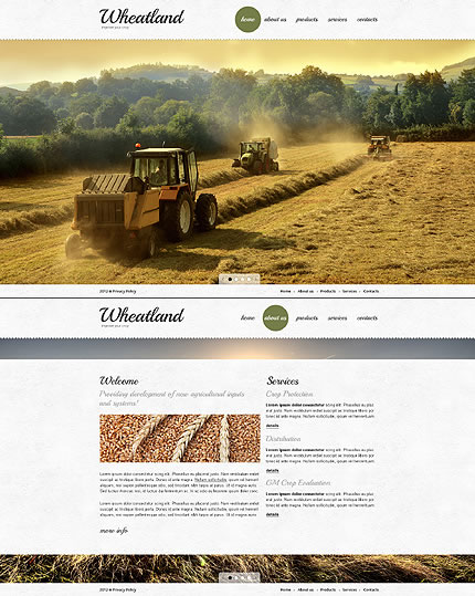 Single Page Agriculture & Farming Website Design With Full Screen Background Images