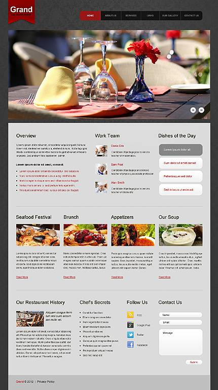 Restaurant HTML5 Website Template With Homepage Animation & Drop Down Menus