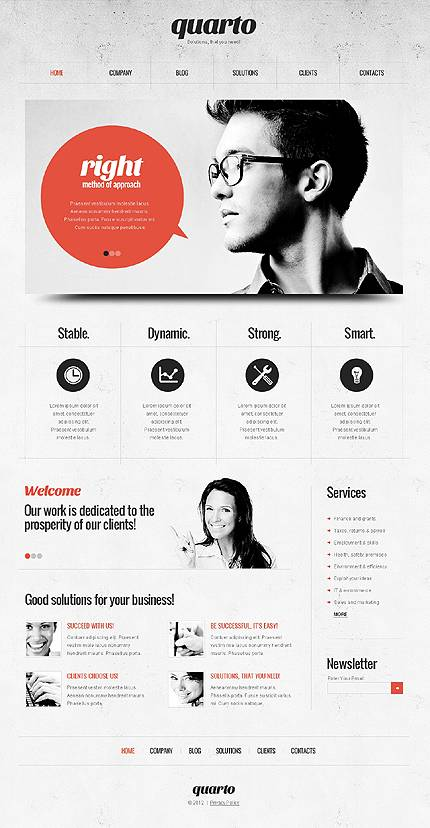 Business WordPress Theme - Red & Grey Theme