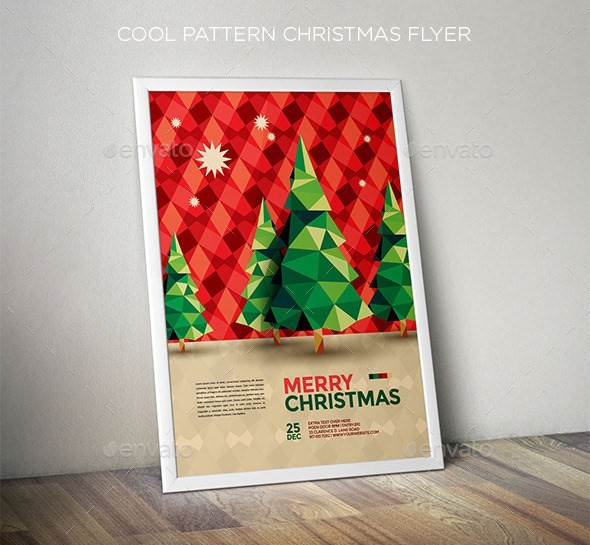 Modern Polygonal Christmas Flyer Template Design