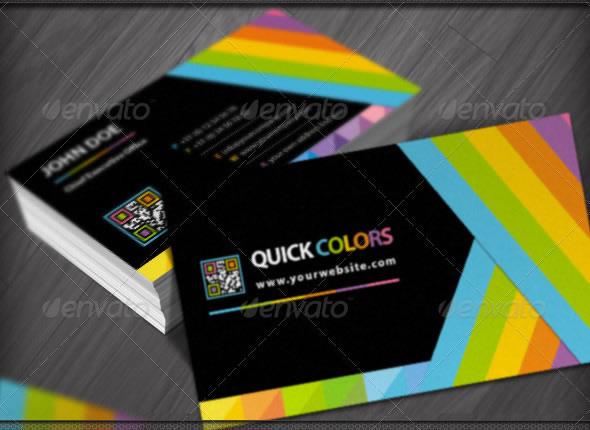 Quick Colors Rainbow QR Code Business Cards Design