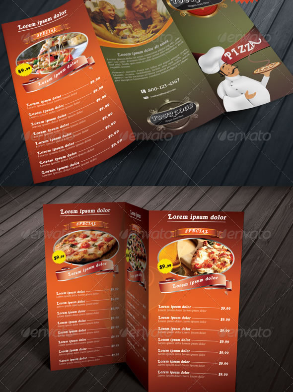 Tri-fold Restaurant Food Menu Template Bundle