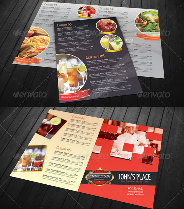 Bi-fold Restaurant Food Menu Template Bundle