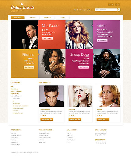 Template 45710 - Online Tickets Responsive Magento Theme