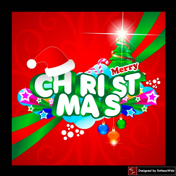 3d Colorful & Bight Christmas card design