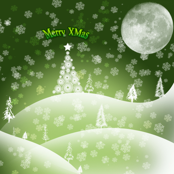 Free Green Christmas Cards with Snow
