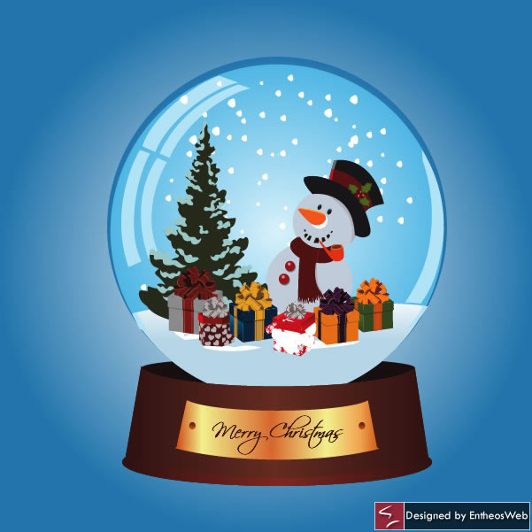 Snow Man Christmas Card