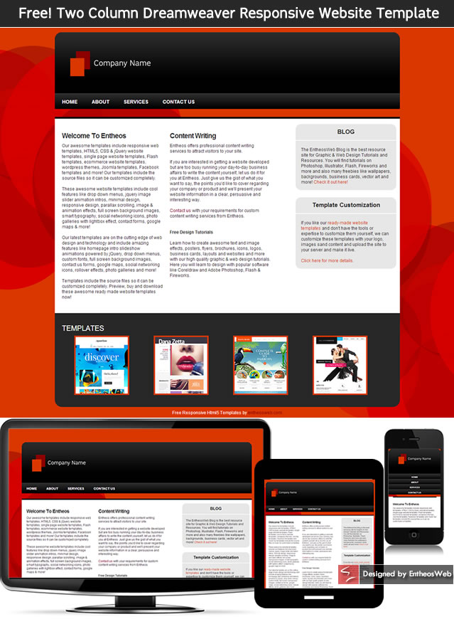 Free! Two Column Dreamweaver Responsive Website Template