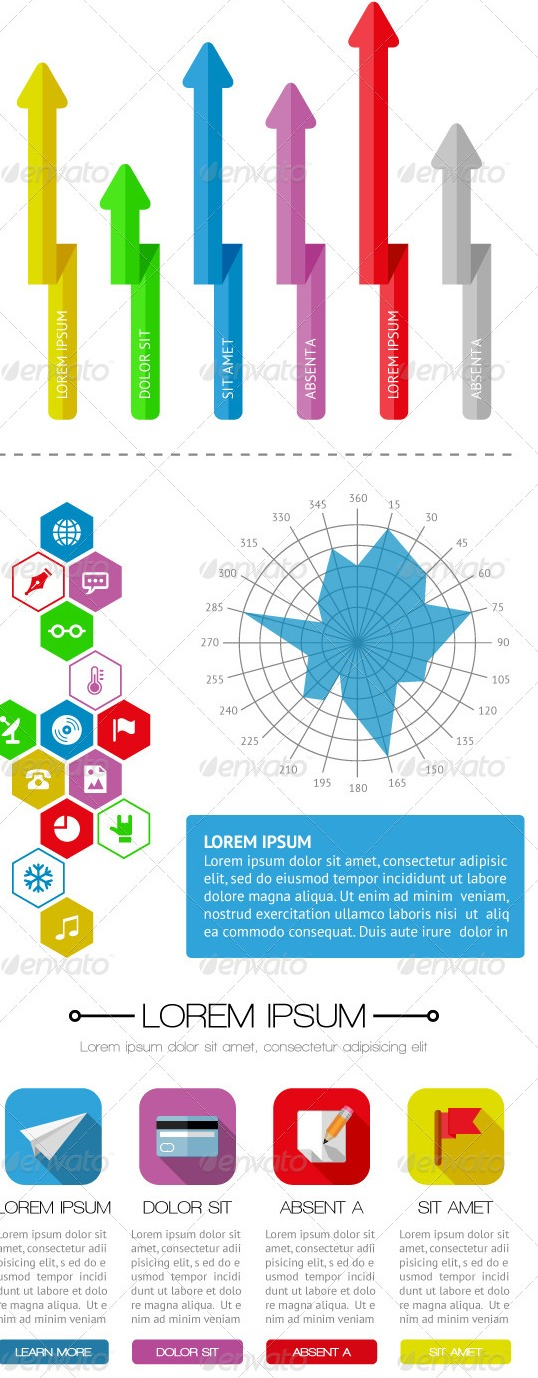 Flat Design in Infographics, User Interface and Web Elements