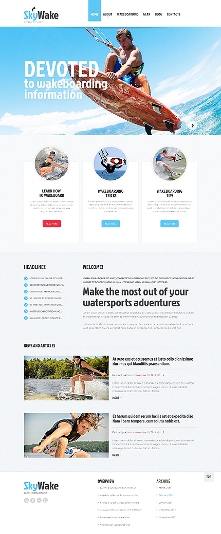 Template 47936 - Sky Wake Responsive Website Template