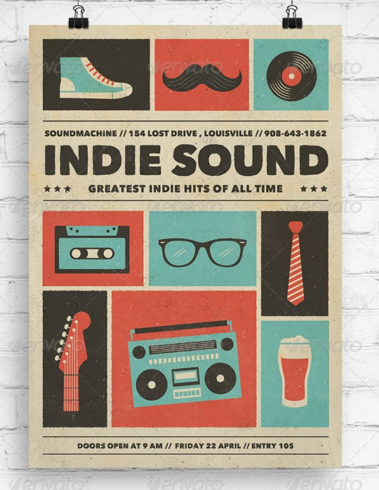 Indie-Sound-Music Flyer Poster