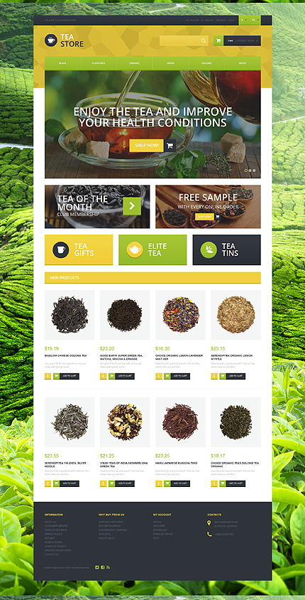 Template 51120 - Tea Store Responsive Magento Theme