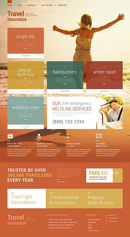 Template 51129 - Travel Insurance Responsive WordPress Theme