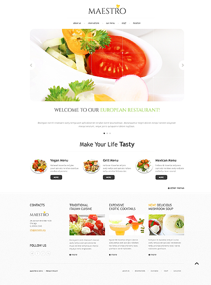 Template 45138 - Maestro Restaurant Responsive Bootstrap Website Template with Slider and Gallery