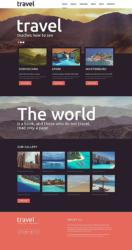 Template 51191 - Travel Agency Responsive Joomla Template with Slider, Gallery and Blog