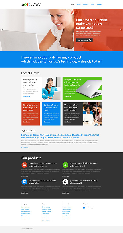 Template 51277 - Software Custom Responsive Website Template in Red, Blue and Green with Animations