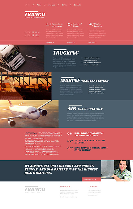 Template 51335 - Transportation Responsive Website Template with Animationss
