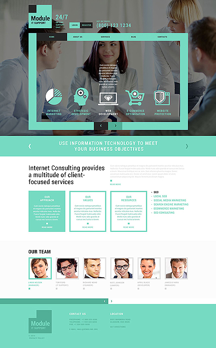 Template 51399 - IT Responsive Flat Joomla Template with Lazy Load, Blog, Forum and Gallery