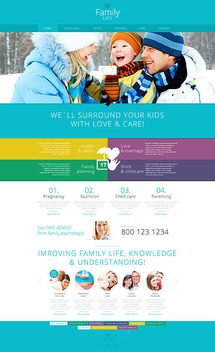 Template 52100 - Family Life Responsive Joomla Template with Slider, Carousel, Gallery and Blog