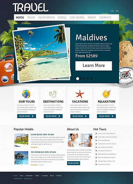Template 51710 - Travel Agency Moto CMS HTML Template with Slider, Mobile Layout Included