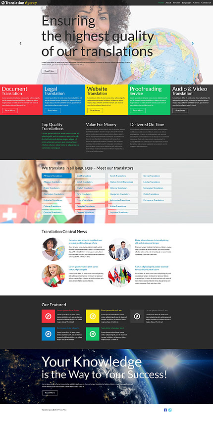 Template 52101 - Translation Agency Responsive Joomla Template with Slider, Gallery and Blog