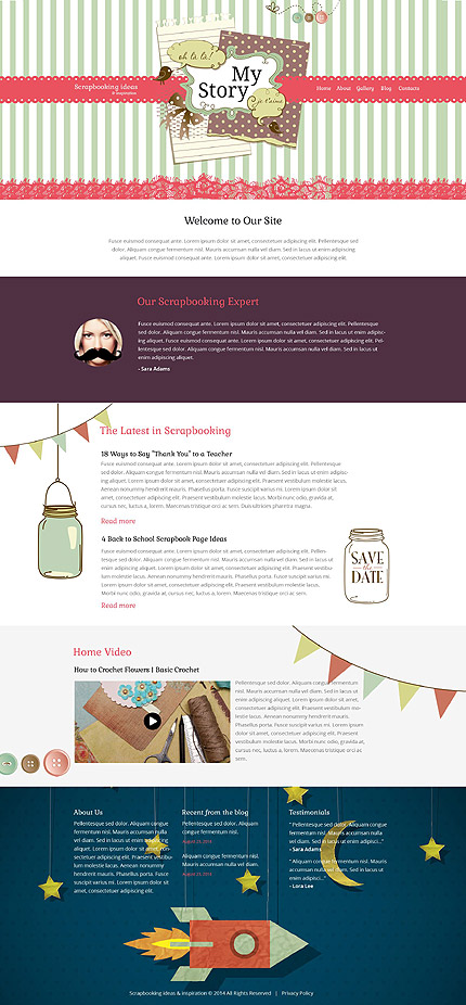 Template 52231 - Scrapbooking Responsive Website Template with Illustrations, Gallery and Blog