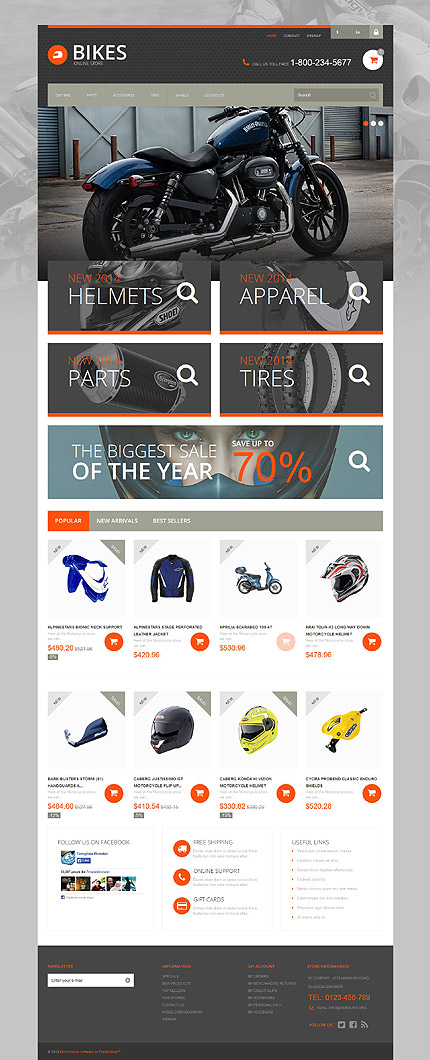Template 52186 - Bikes Moto Responsive PrestaShop Theme with Slider, Product Slideshows with Image Zoom
