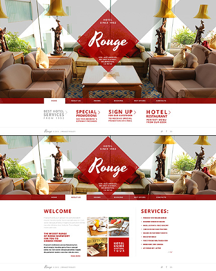 Template 43595 - Rouge Hotel Website Template with Diamond Grid Overlay, Slider and Carousel