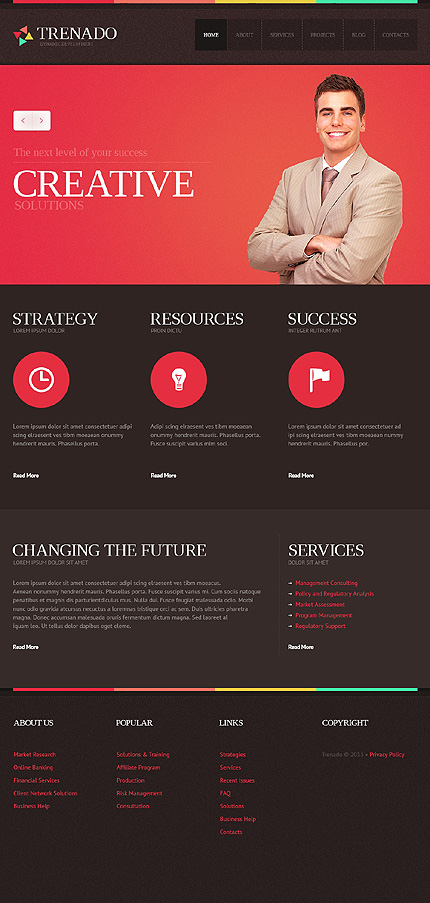 Template 43598 - Red and Black Advertising Agency Responsive Joomla Template with Slider, Gallery and Blog