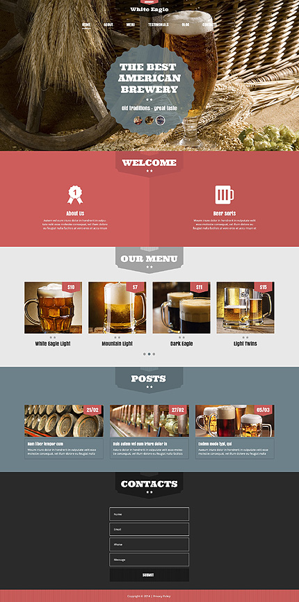 Template 49402 - Brewery Responsive WordPress Theme with Slider, Gallery and Blog