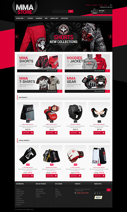 Template 49417 - Martial Arts Store Responsive Magento Theme with Slider, Product Slideshows with Image Zoom, Video, Product Carousels