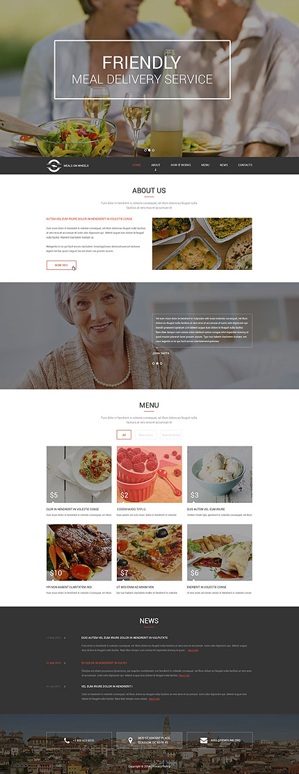 Template 52896 - Friendly Meal Delivery Responsive Drupal Template with Slider, Gallery and Blog, Ghost Buttons