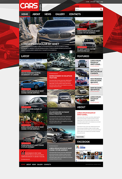 Template 52922 –Red and Black Cars Magazine Responsive Joomla Template with Slider, Gallery and Blog
