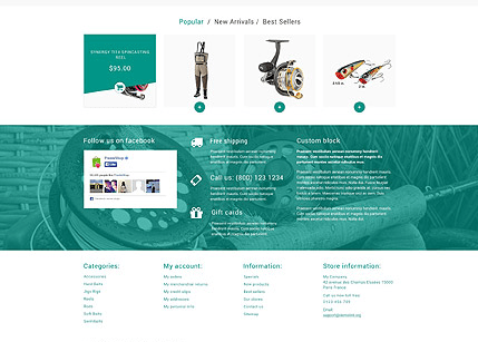 Footer for Template 53546 Fishing Store Responsive PrestaShop Theme