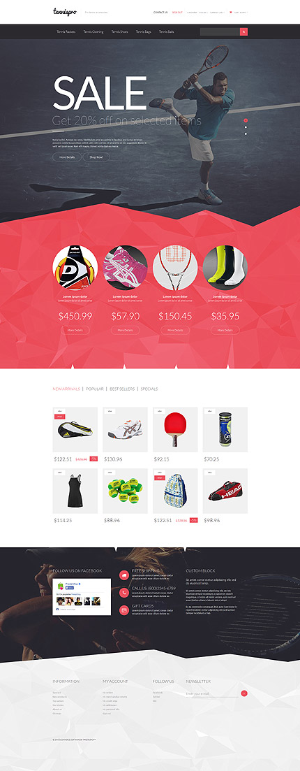 Template 53172 - Tennispro Responsive PrestaShop Theme with Slider, Product Slideshows with Zoom, Carousels, Video