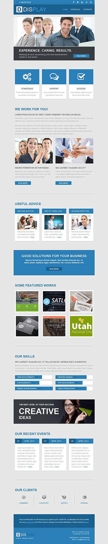 Template 52682 - Web Development Agency Responsive Newsletter in Blue and Gray