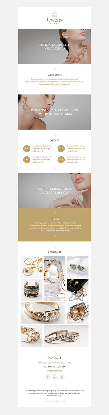 Template 52988 - Jewelry Brand Responsive Newsletter Template