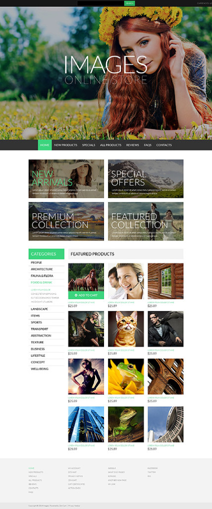 Template 50991 - Prostock Images ZenCart Template with Large Full-width Image, Banners with Large Text, Grid Layout