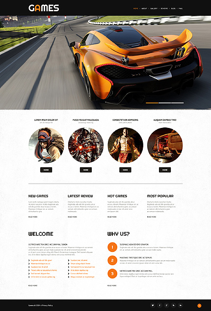 Template 52997 - Games Portal WordPress Theme with Slider, Gallery and Blog