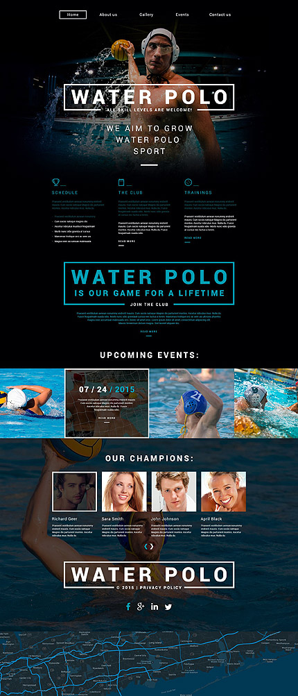 Template 54950 - Water Polo Responsive Website Template with Parallax, Carousel and Gallery