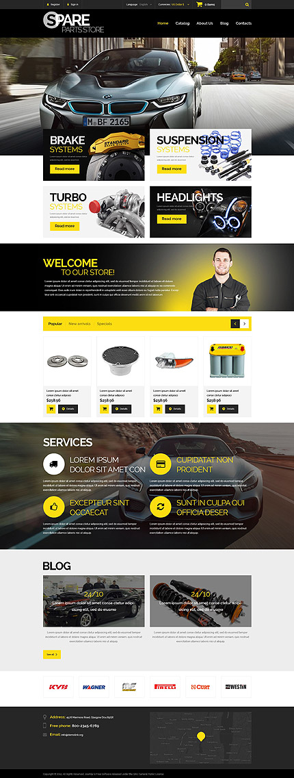 Template 54986 - Spare Parts Responsive PrestaShop Theme with Slider, Carousel and Blog