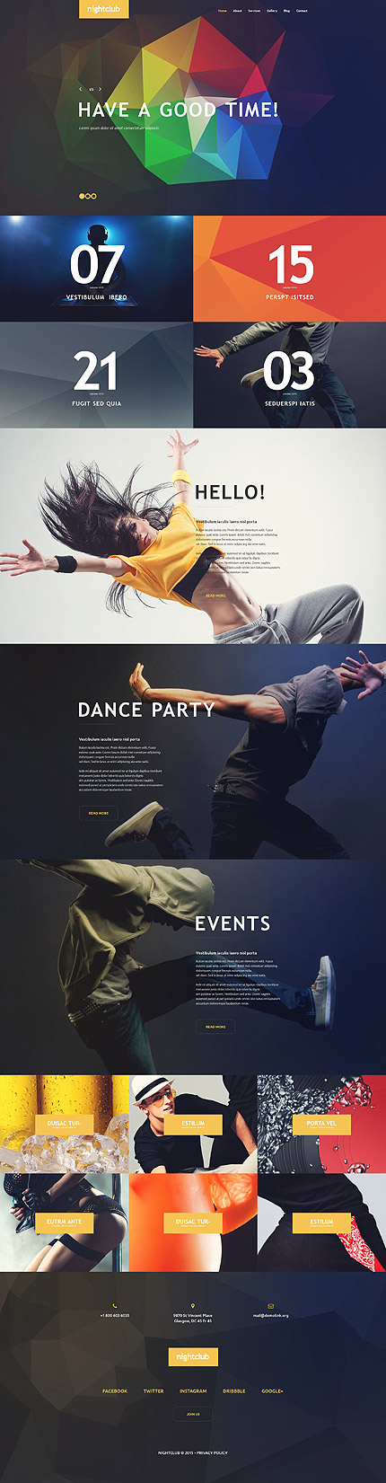 Template 54583 –Night Club Responsive WordPress Theme with Slider, Parallax, Blog and Gallery