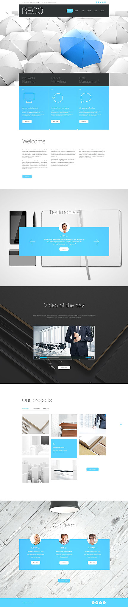 Template 55292 - Blue Business Responsive Website Template with Slider, Parallax, Video