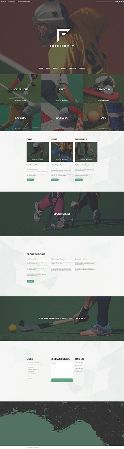 Template 55296 - Field Hockey Responsive Website Template with Full-Screen Header, Full-Width Banners, Polygon Background