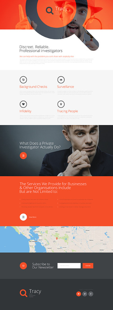 Template 57631 - Private Investigation Responsive Landing Page Template